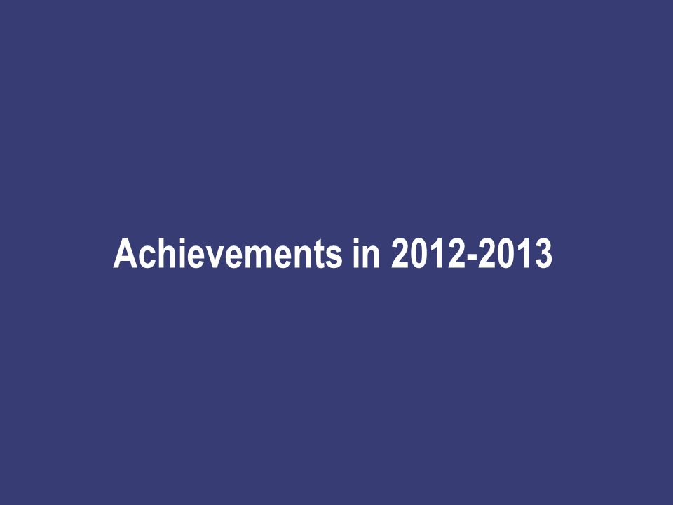 Achievements in 2012-2013