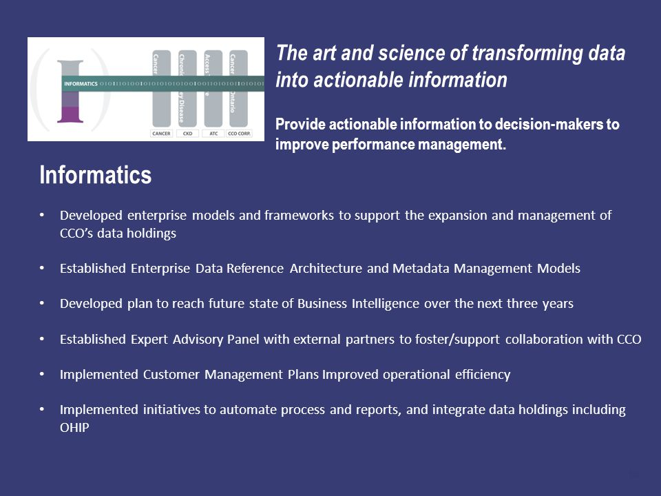 18 The art and science of transforming data into actionable information Provide actionable information to decision-makers to improve performance management.