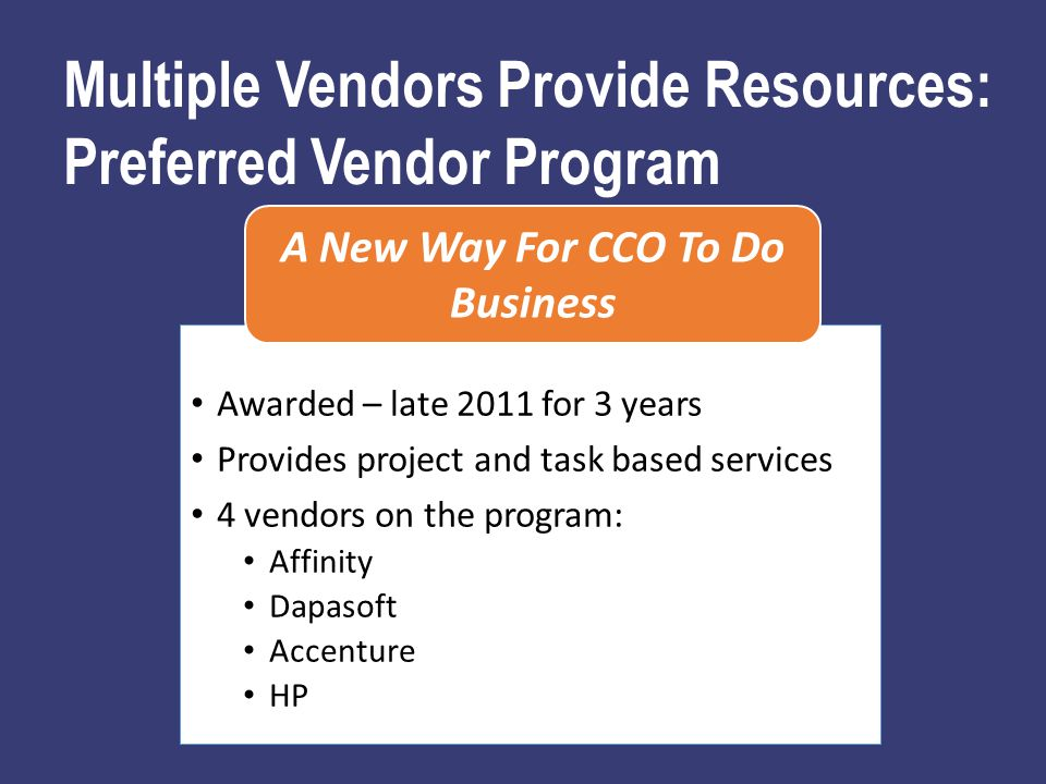 Awarded – late 2011 for 3 years Provides project and task based services 4 vendors on the program: Affinity Dapasoft Accenture HP A New Way For CCO To Do Business Multiple Vendors Provide Resources: Preferred Vendor Program