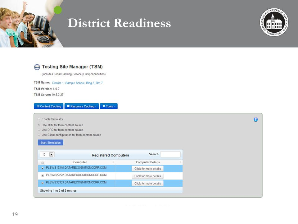 19 District Readiness Load Simulation Tool