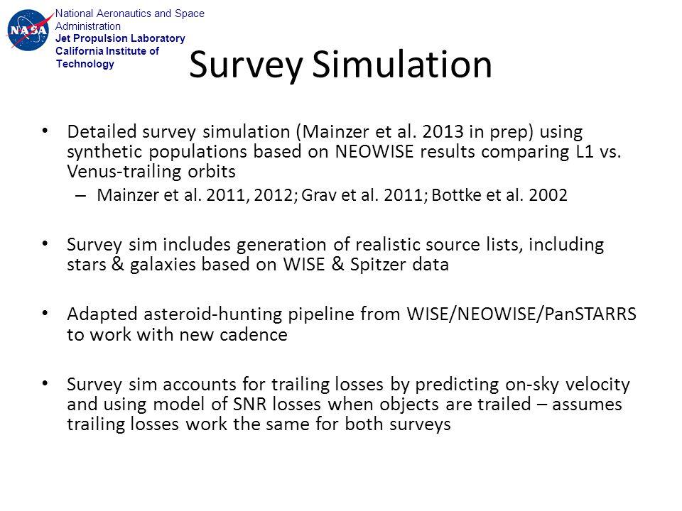 National Aeronautics and Space Administration Jet Propulsion Laboratory California Institute of Technology Survey Simulation Detailed survey simulation (Mainzer et al.