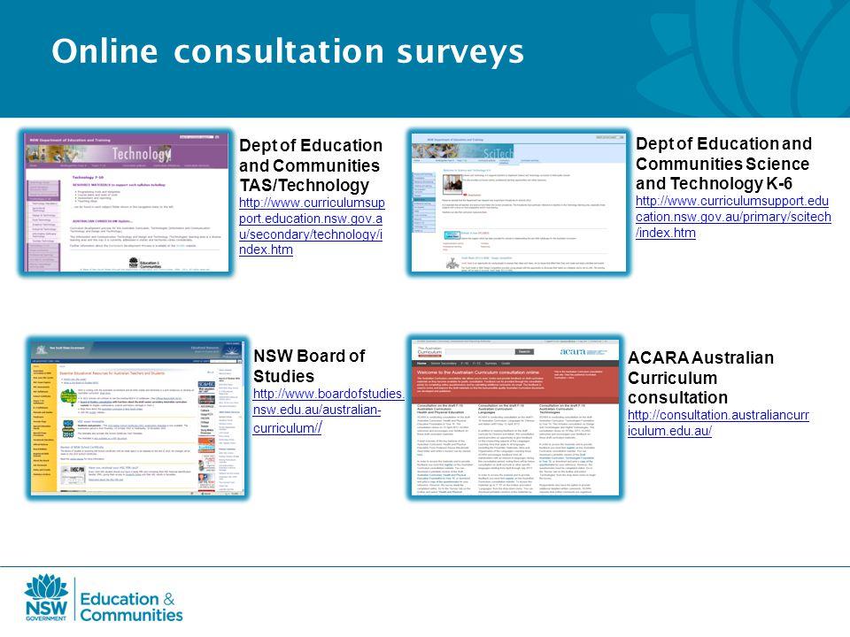 Online consultation surveys ACARA Australian Curriculum consultation http://consultation.australiancurr iculum.edu.au/ NSW Board of Studies http://www.boardofstudies.