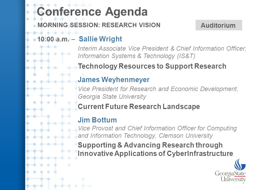 Conference Agenda 10:00 a.m.