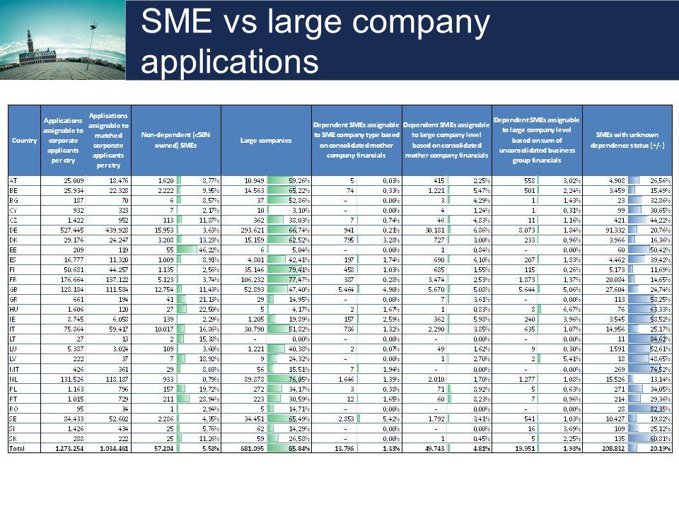 SME vs large company applications