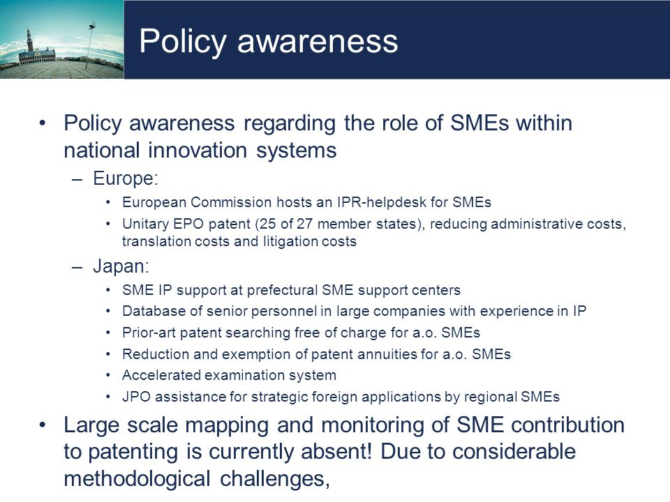 Policy awareness Policy awareness regarding the role of SMEs within national innovation systems –Europe: European Commission hosts an IPR-helpdesk for