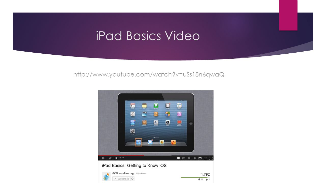 iPad Basics Video http://www.youtube.com/watch?v=uSs18n6qwaQ