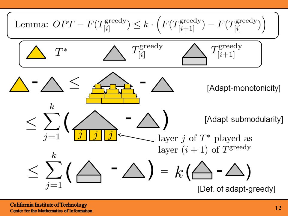 12 [Adapt-monotonicity] - - ( ) - ( ) - [Def. of adapt-greedy] ( ) - [Adapt-submodularity]