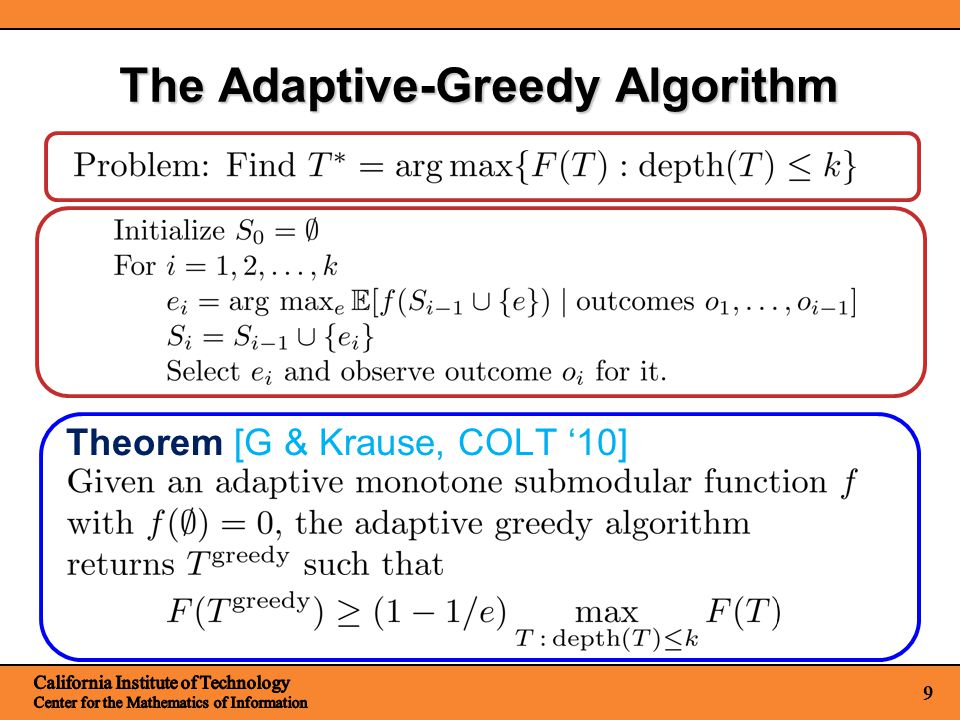9 The Adaptive-Greedy Algorithm Theorem [G & Krause, COLT 10]