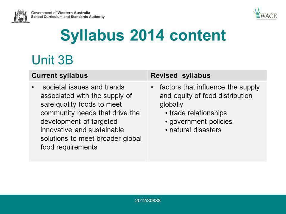 Syllabus 2014 content Current syllabusRevised syllabus societal issues and trends associated with the supply of safe quality foods to meet community needs that drive the development of targeted innovative and sustainable solutions to meet broader global food requirements factors that influence the supply and equity of food distribution globally trade relationships government policies natural disasters Unit 3B 2012/30888