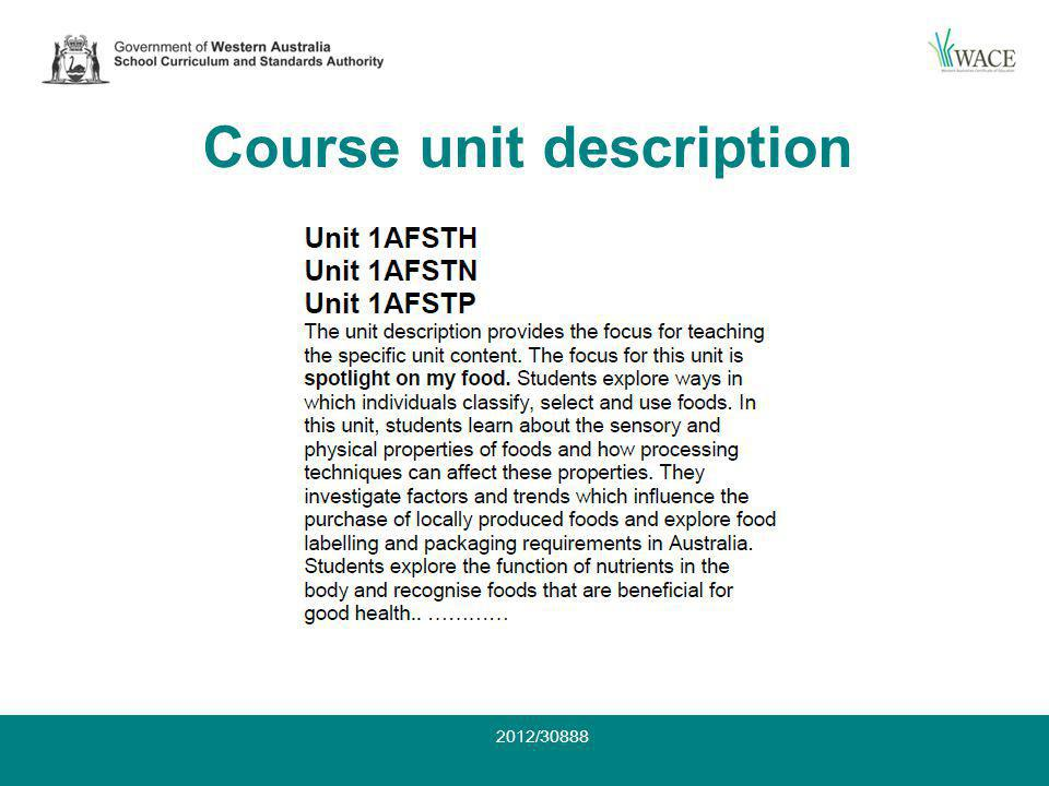 Course unit description 2012/30888