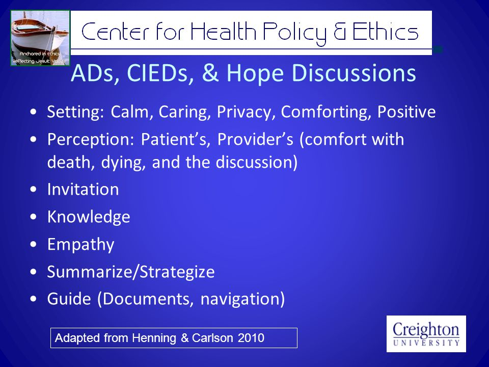 ADs, CIEDs, & Hope Discussions Setting: Calm, Caring, Privacy, Comforting, Positive Perception: Patients, Providers (comfort with death, dying, and the discussion) Invitation Knowledge Empathy Summarize/Strategize Guide (Documents, navigation) Adapted from Henning & Carlson 2010