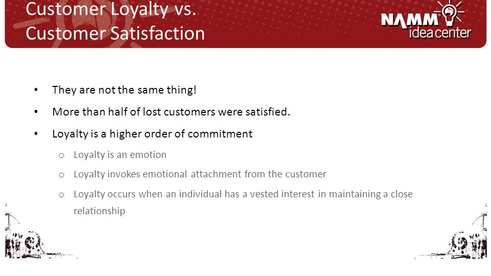 They are not the same thing. More than half of lost customers were satisfied.