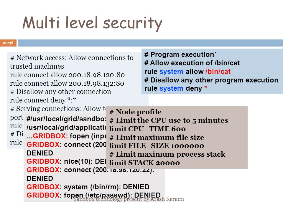 Multi level security # Network access: Allow connections to trusted machines rule connect allow :80 rule connect allow :80 # Disallow any other connection rule connect deny *:* # Serving connections: Allow to bind to port 8000 of interface rule bind allow :8000 # Disallow any other port binding rule bind deny * # Program execution` # Allow execution of /bin/cat rule system allow /bin/cat # Disallow any other program execution rule system deny * #/usr/local/grid/sandbox.sh /usr/local/grid/applications/test_suite...GRIDBOX: fopen (input): DENIED GRIDBOX: connect ( :80): DENIED GRIDBOX: nice(10): DENIED GRIDBOX: connect ( :22): DENIED GRIDBOX: system (/bin/rm): DENIED GRIDBOX: fopen (/etc/passwd): DENIED # Node profile # Limit the CPU use to 5 minutes limit CPU_TIME 600 # Limit maximum file size limit FILE_SIZE # Limit maximum process stack limit STACK /36 Sandbox technology present by Arash Karami