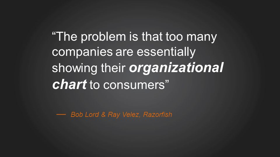The problem is that too many companies are essentially showing their organizational chart to consumers Bob Lord & Ray Velez, Razorfish