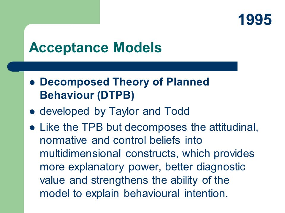 Decomposed Theory of Planned Behaviour (DTPB) developed by Taylor and Todd Like the TPB but decomposes the attitudinal, normative and control beliefs
