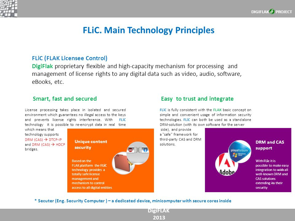 FLiC. Main Technology Principles DigiFLAK 2013 * Secuter (Eng. Security Computer ) – a dedicated device, minicomputer with secure cores inside FLiC (F