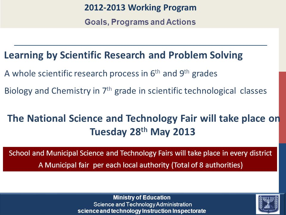 Learning by Scientific Research and Problem Solving A whole scientific research process in 6 th and 9 th grades Biology and Chemistry in 7 th grade in scientific technological classes The National Science and Technology Fair will take place on Tuesday 28 th May 2013 2012-2013 Working Program Goals, Programs and Actions School and Municipal Science and Technology Fairs will take place in every district A Municipal fair per each local authority (Total of 8 authorities) Combining the experiments with training Ministry of Education Science and Technology Administration science and technology Instruction Inspectorate Ministry of Education Science and Technology Administration science and technology Instruction Inspectorate