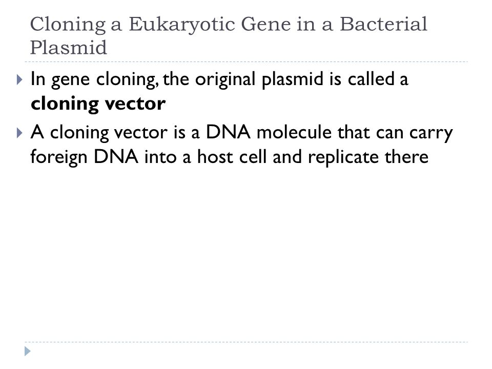 Cloning a Eukaryotic Gene in a Bacterial Plasmid In gene cloning, the original plasmid is called a cloning vector A cloning vector is a DNA molecule t