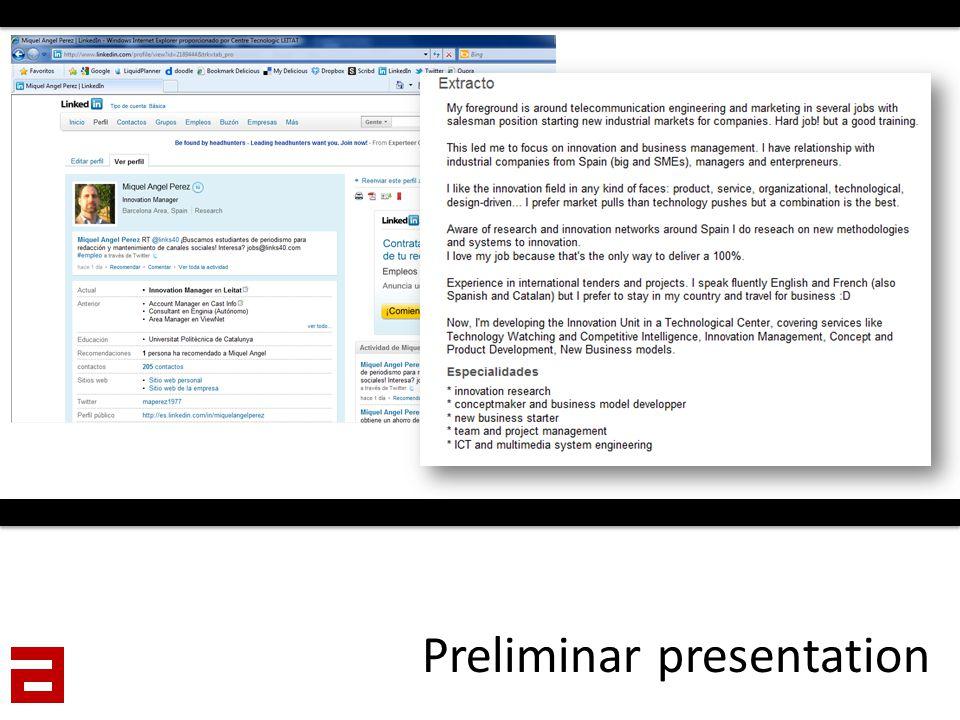 Preliminar presentation