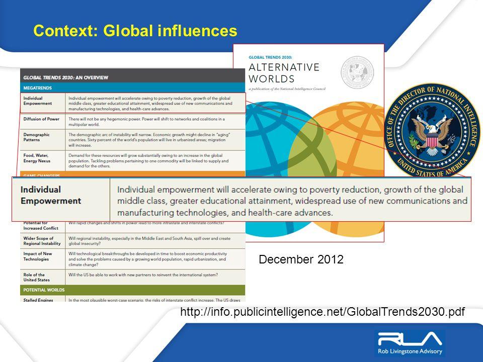 http://info.publicintelligence.net/GlobalTrends2030.pdf December 2012 Context: Global influences