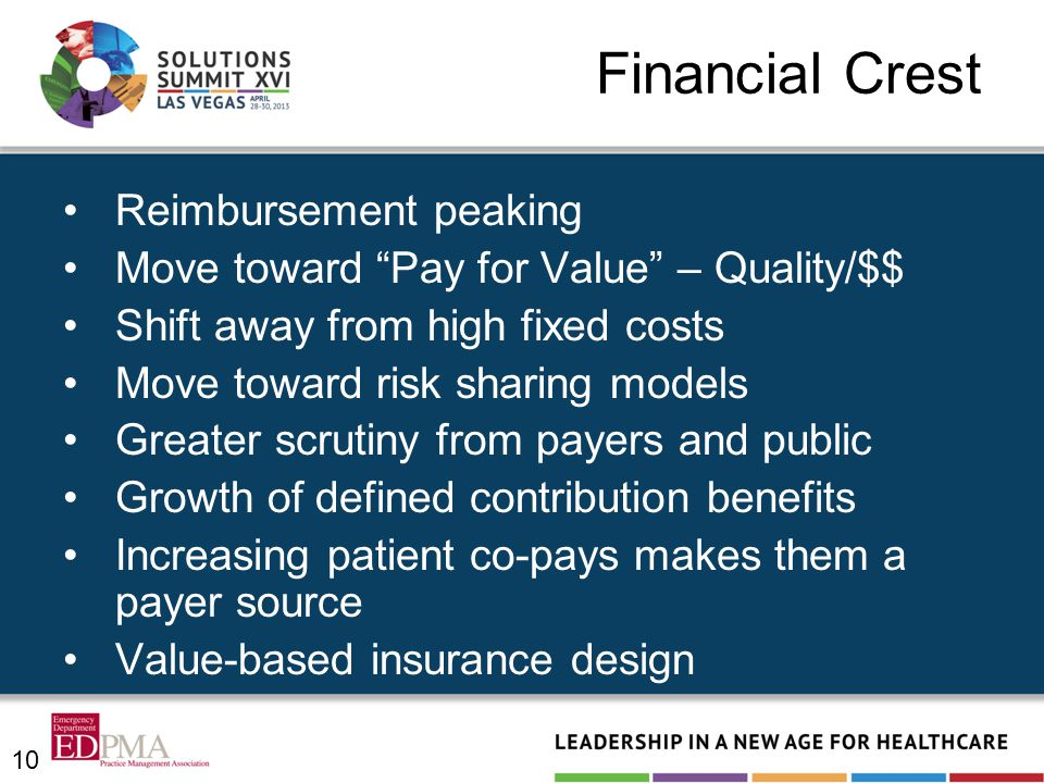 Financial Crest Reimbursement peaking Move toward Pay for Value – Quality/$$ Shift away from high fixed costs Move toward risk sharing models Greater scrutiny from payers and public Growth of defined contribution benefits Increasing patient co-pays makes them a payer source Value-based insurance design 10
