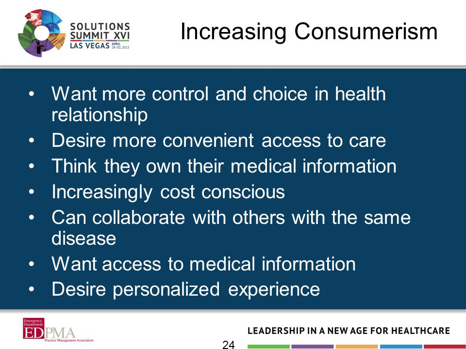 Increasing Consumerism Want more control and choice in health relationship Desire more convenient access to care Think they own their medical informat