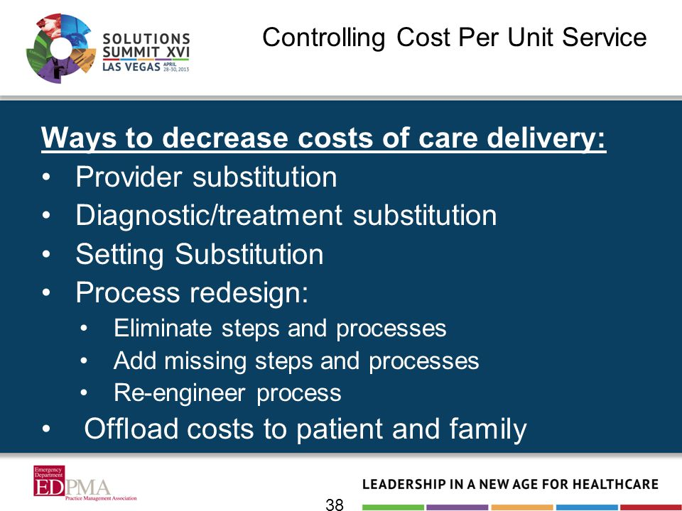 Controlling Cost Per Unit Service Ways to decrease costs of care delivery: Provider substitution Diagnostic/treatment substitution Setting Substitution Process redesign: Eliminate steps and processes Add missing steps and processes Re-engineer process Offload costs to patient and family 38