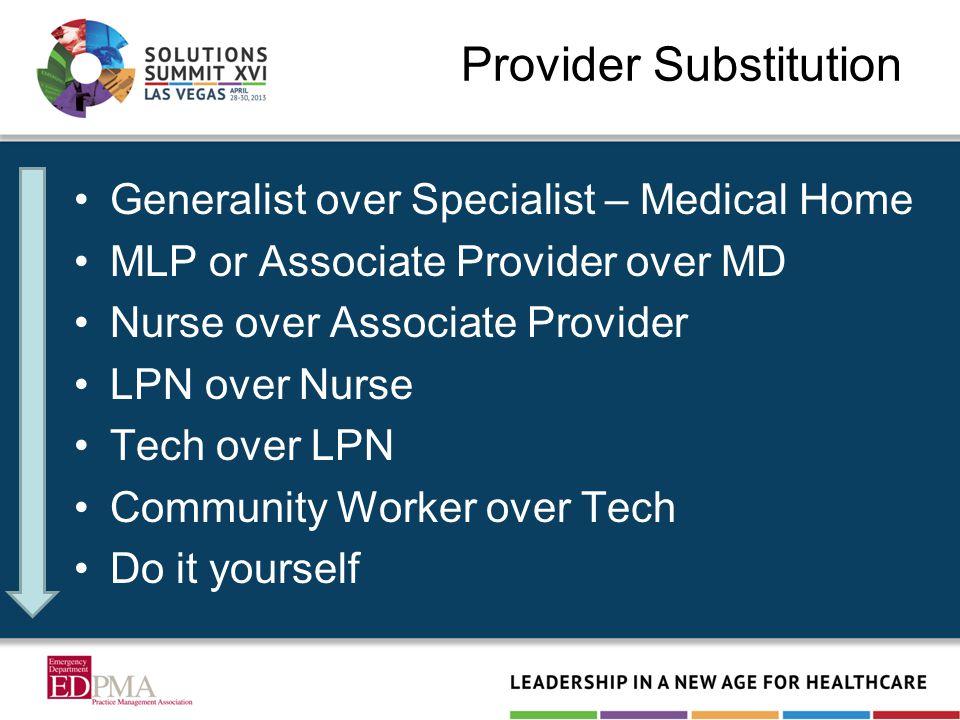 Provider Substitution Generalist over Specialist – Medical Home MLP or Associate Provider over MD Nurse over Associate Provider LPN over Nurse Tech ov