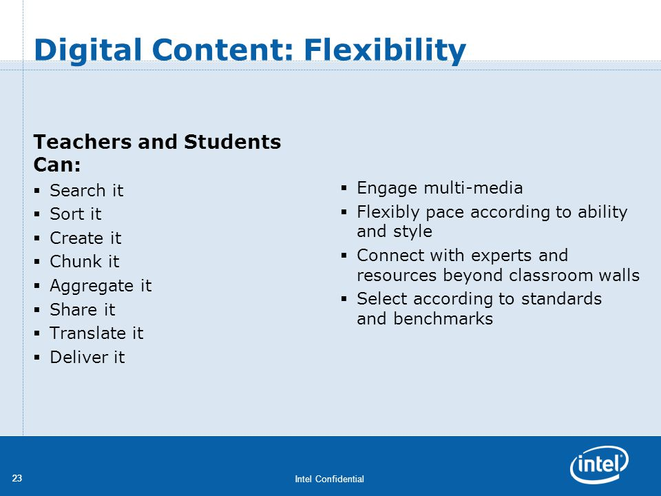 Intel Confidential 23 Teachers and Students Can: Search it Sort it Create it Chunk it Aggregate it Share it Translate it Deliver it Engage multi-media