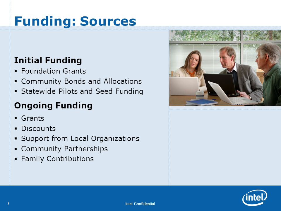 Intel Confidential 77 Initial Funding Foundation Grants Community Bonds and Allocations Statewide Pilots and Seed Funding Ongoing Funding Grants Disco