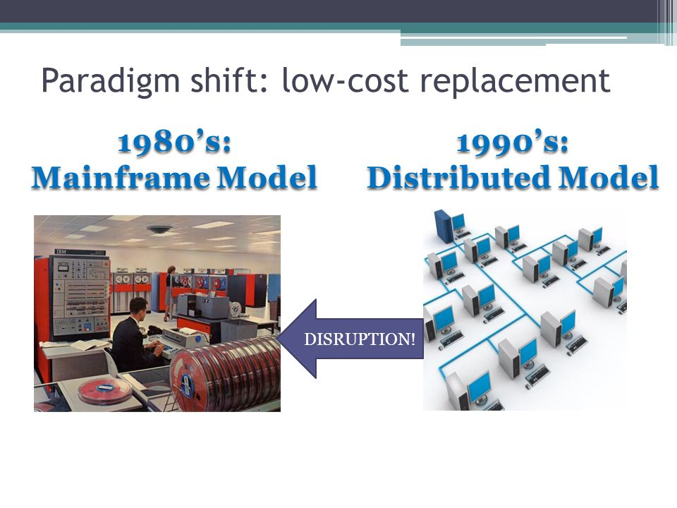 Paradigm shift: low-cost replacement 1980s: Mainframe Model 1990s: Distributed Model DISRUPTION!