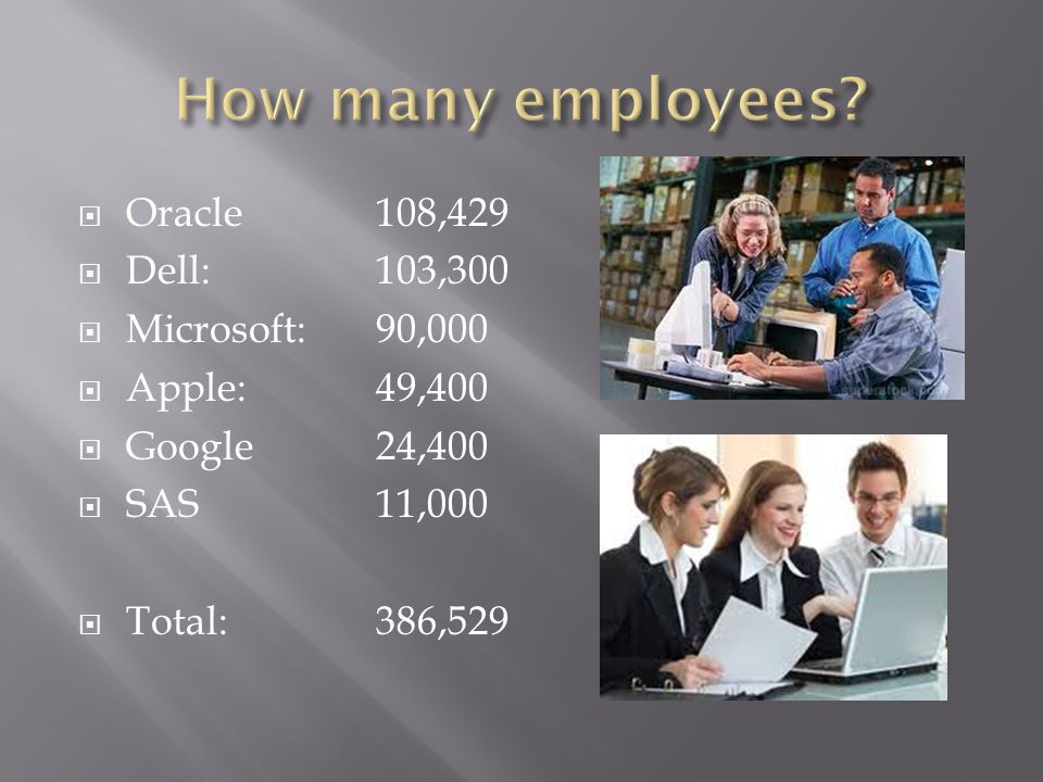 Oracle108,429 Dell:103,300 Microsoft:90,000 Apple:49,400 Google24,400 SAS11,000 Total: 386,529