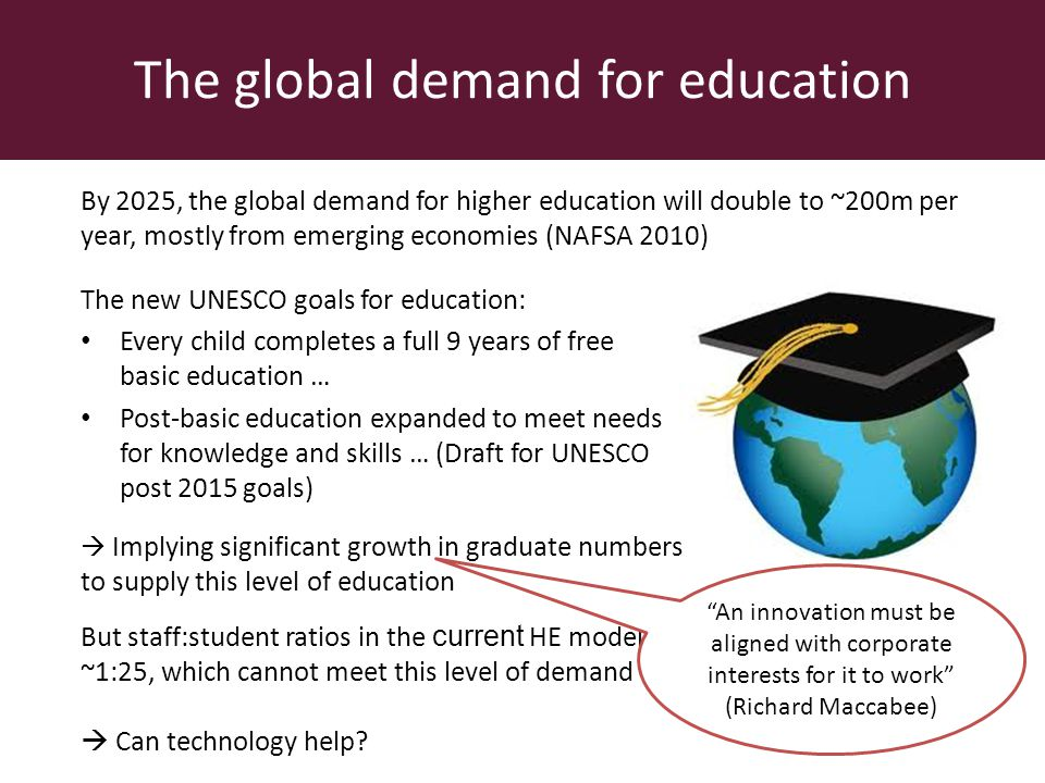 The global demand for education The new UNESCO goals for education: Every child completes a full 9 years of free basic education … Post-basic education expanded to meet needs for knowledge and skills … (Draft for UNESCO post 2015 goals) By 2025, the global demand for higher education will double to ~200m per year, mostly from emerging economies (NAFSA 2010) Implying significant growth in graduate numbers to supply this level of education But staff:student ratios in the current HE model are ~1:25, which cannot meet this level of demand Can technology help.