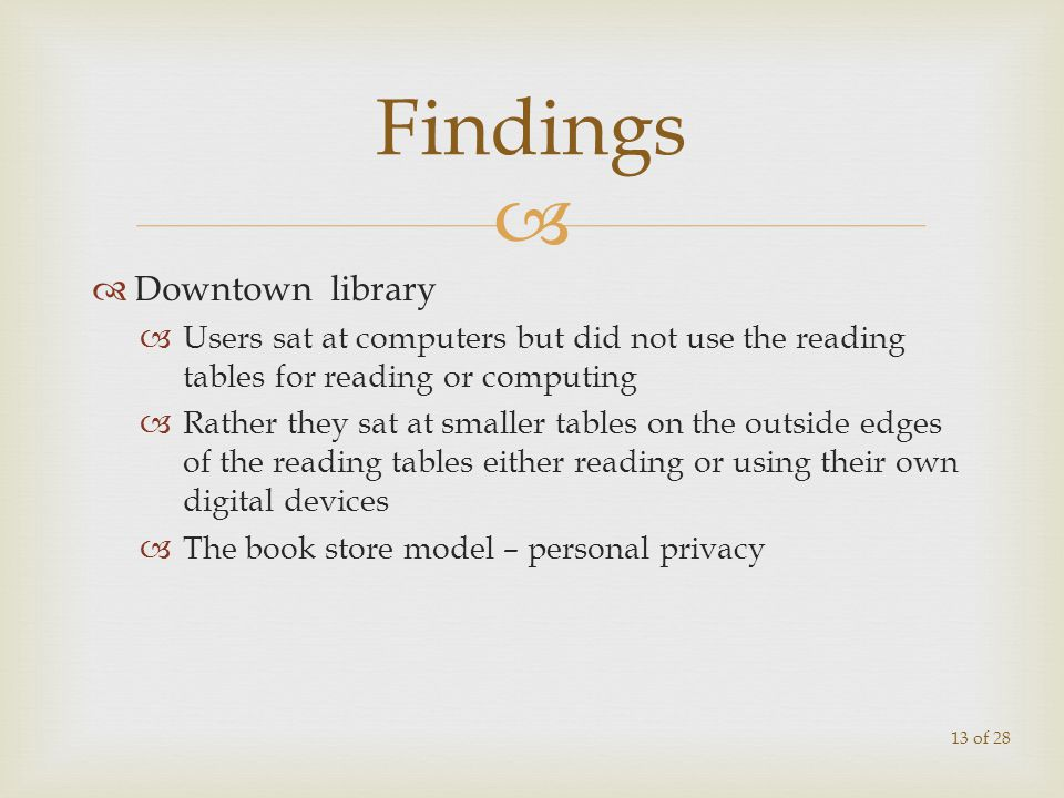 Downtown library Users sat at computers but did not use the reading tables for reading or computing Rather they sat at smaller tables on the outside e