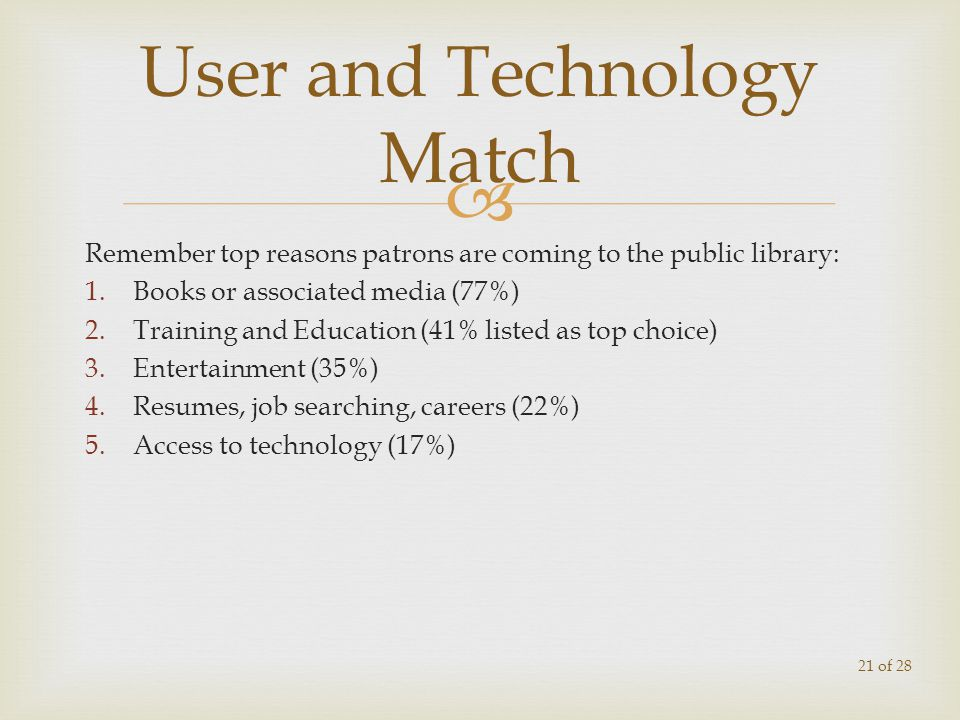 Remember top reasons patrons are coming to the public library: 1.Books or associated media (77%) 2.Training and Education (41% listed as top choice) 3.Entertainment (35%) 4.Resumes, job searching, careers (22%) 5.Access to technology (17%) User and Technology Match 21 of 28
