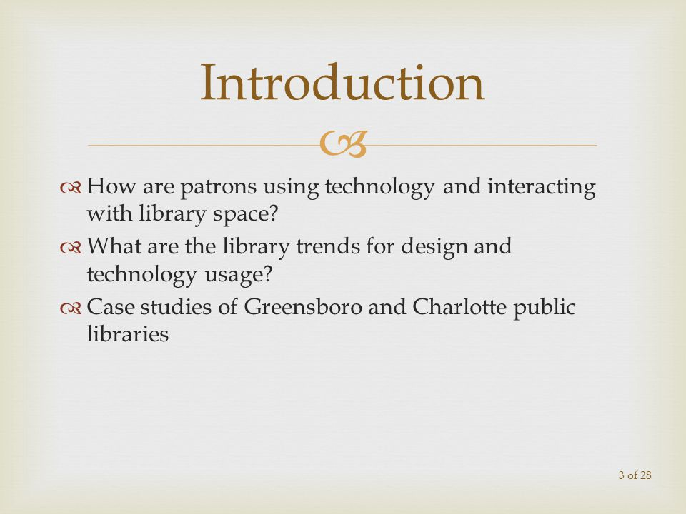 How are patrons using technology and interacting with library space.
