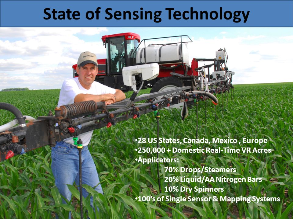State of Sensing Technology 28 US States, Canada, Mexico, Europe 250,000 + Domestic Real-Time VR Acres Applicators: 70% Drops/Steamers 20% Liquid/AA N
