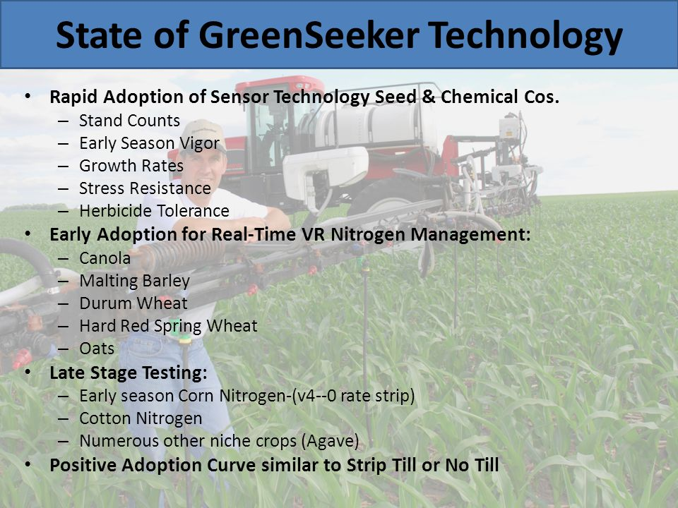 State of GreenSeeker Technology Rapid Adoption of Sensor Technology Seed & Chemical Cos. – Stand Counts – Early Season Vigor – Growth Rates – Stress R
