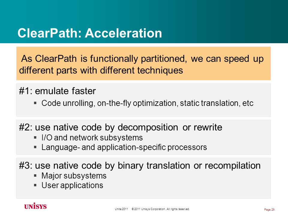 ClearPath: Acceleration #1: emulate faster Code unrolling, on-the-fly optimization, static translation, etc #2: use native code by decomposition or rewrite I/O and network subsystems Language- and application-specific processors #3: use native code by binary translation or recompilation Major subsystems User applications As ClearPath is functionally partitioned, we can speed up different parts with different techniques Unite 2011 © 2011 Unisys Corporation.