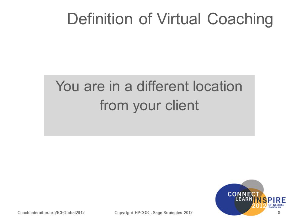 Coachfederation.org/ICFGlobal201259Copyright HPCG®, Sage Strategies 2012 Engaging your Clients Group Coaching Build trust – quickly Assess clients comfort level and experience with communication technology Pattern disruption: every 3-5 minutes Check for distractions and background noise Learn the collaboration tools functionality For Your Reference