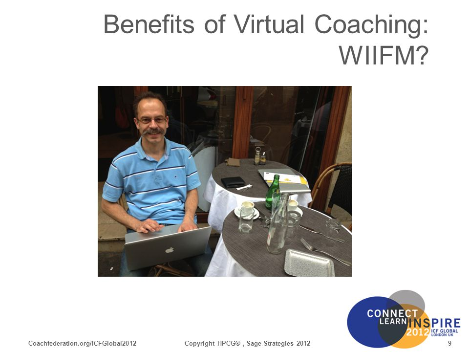 Coachfederation.org/ICFGlobal201220Copyright HPCG®, Sage Strategies 2012 For Your Reference Software installed on your Device Windows PC, Mac, Tablet, SmartPhone Must Have Browser (have a second one, e.g.