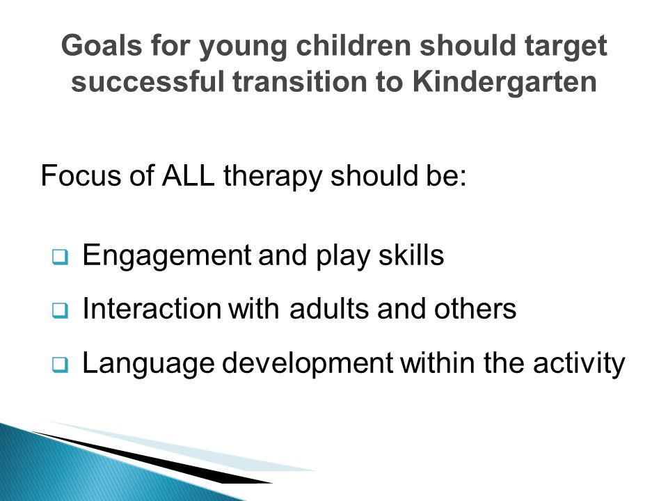 Focus of ALL therapy should be: Engagement and play skills Interaction with adults and others Language development within the activity Goals for young