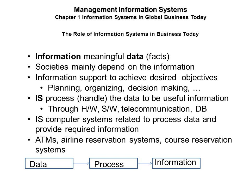 The Role of Information Systems in Business Today Information meaningful data (facts) Societies mainly depend on the information Information support t