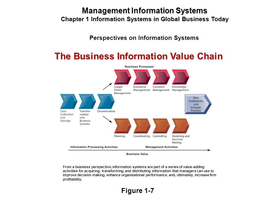 Perspectives on Information Systems Management Information Systems Chapter 1 Information Systems in Global Business Today From a business perspective,