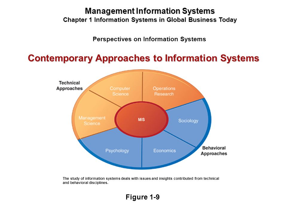 Perspectives on Information Systems Management Information Systems Chapter 1 Information Systems in Global Business Today The study of information sys