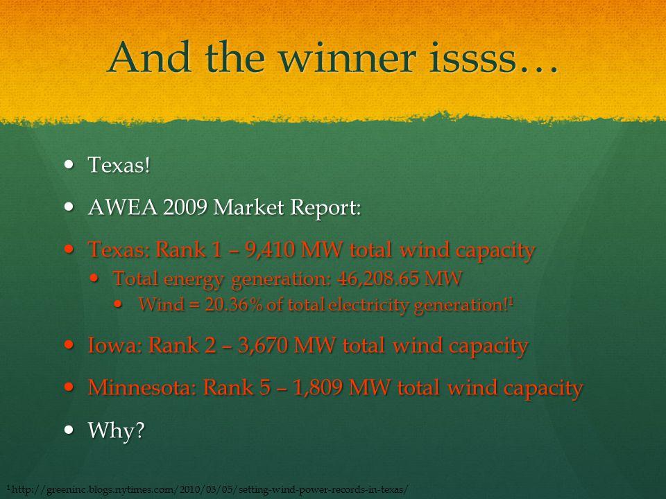 And the winner issss… Texas! Texas! AWEA 2009 Market Report: AWEA 2009 Market Report: Texas: Rank 1 – 9,410 MW total wind capacity Texas: Rank 1 – 9,4