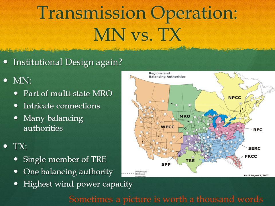 Transmission Operation: MN vs. TX Institutional Design again.