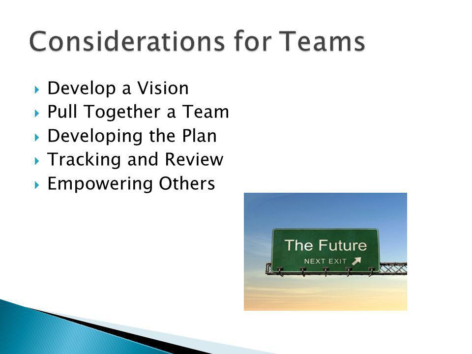 Develop a Vision Pull Together a Team Developing the Plan Tracking and Review Empowering Others
