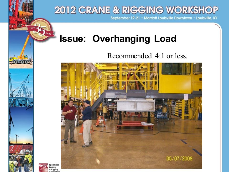 Issue: Overhanging Load Recommended 4:1 or less.