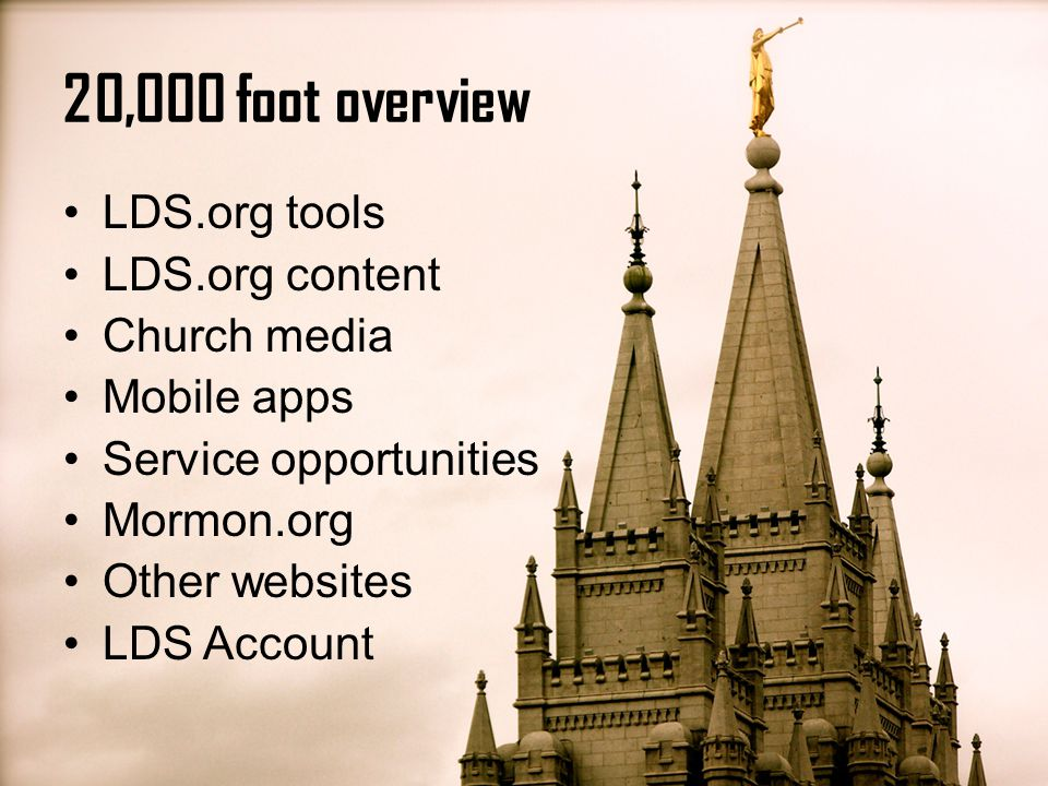 At the top of any LDS.org website, click Sign in Log in to LDS Account